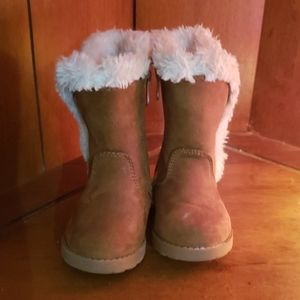 Brown faux fur suede toddler boots size 4